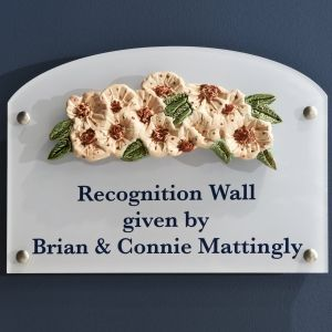 Donor Room Plaques with Cherry Blossom Relief Tile