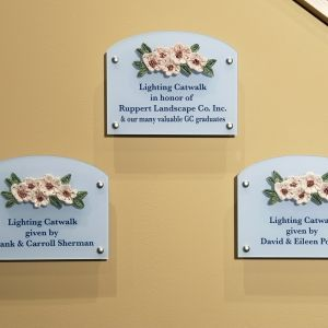 Donor Room Plaques with Cherry Blossom Relief Tiles