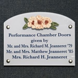 Donor Room Plaque with Cherry Blossom Relief Tile